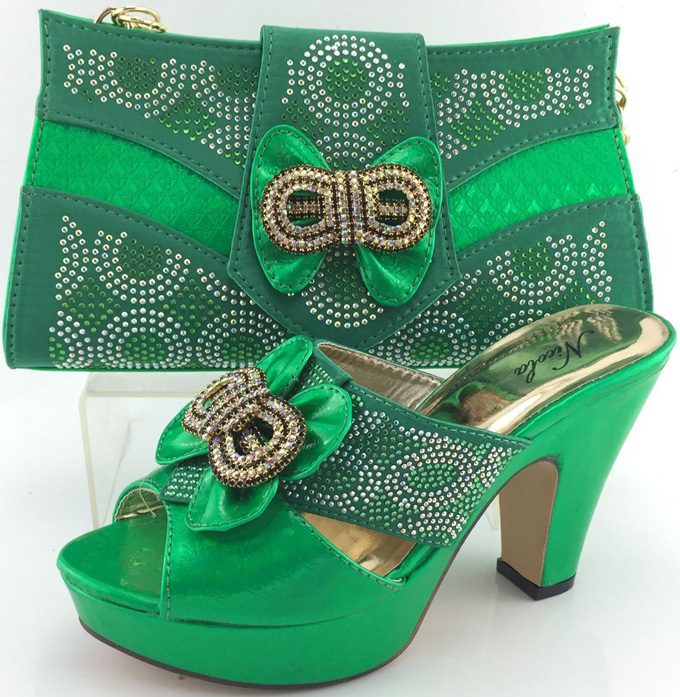 ФОТО 2017 New Fashion Italian Design Ladies Shoes And Bag Set African Stones Pumps Shoes And Bag Sets To Matching ME3321
