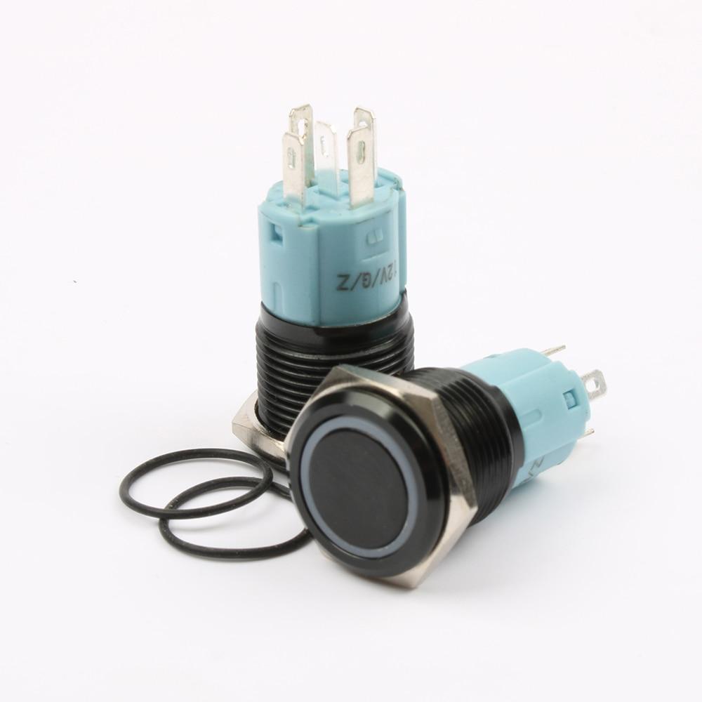 Free shipping 16mm Metal Push Button Switch Black body Waterproof Latching Maintained switch ring lamp Auto Lock 16HX.S.BK 1 x 16mm od led ring illuminated latching push button switch 2no 2nc