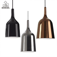 BDBQBL Modern Copper Bell Pendant Lamp E27 90V 260V Bedroom Hanging Lamp Iron Originality Simple Study Parlor Pendant Lights