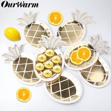OurWarm 8pcs Paper Plates Gold Pineapple Disposable Tableware Birthday Party Flamingo Themed Supplies