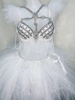 Women Costume White crystals Pearls Rhinestones Bikini Bubble Skirt Set Sexy Bar Party Show Stage Outfit Nightclub DJ Singer