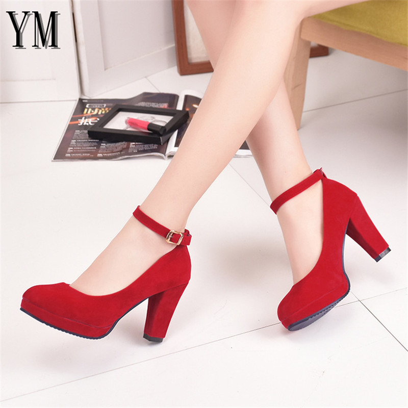 Sexy Red Ankle Strap 9CM High Heels Autumn Flock Round Toe High Heels Female Platform Summer Shoes Women Pumps Sandals Muje