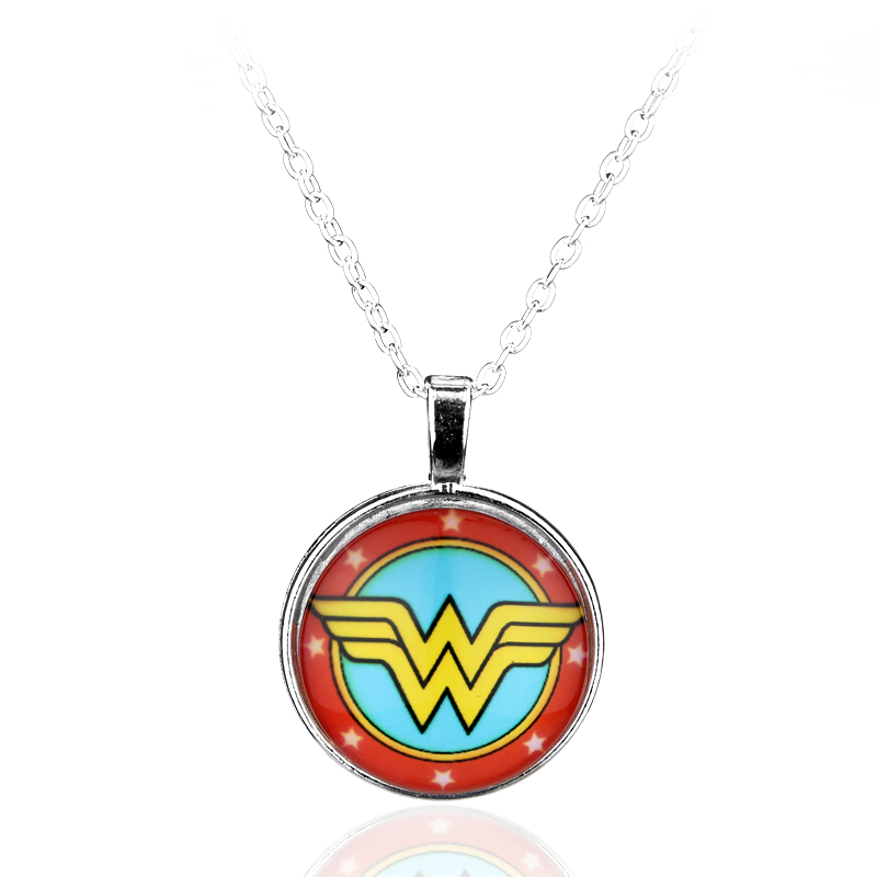 dongsheng DC Superhero Wonder Woman Super Hero Supergirl Logo Alloy Pendant Necklace Gift For Women Charm Movie Jewelry -30
