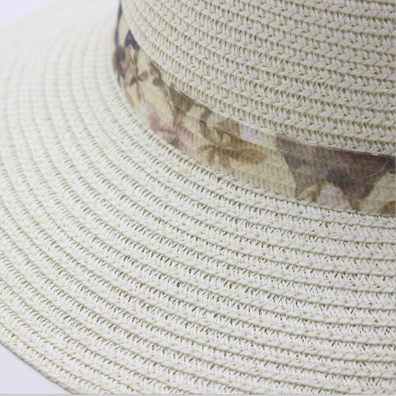 Fashion Flower Decor Lace Net yarn Wide Brim Caps Summer Beach Sun Protective Hat Fedora Straw Hats for Women in Women 39 s Sun Hats from Apparel Accessories
