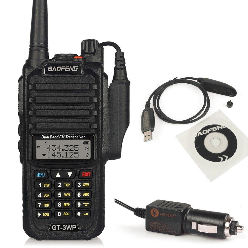 Baofeng GT-3WP IP67 Водонепроницаемый Двухдиапазонный 2 м/70 см ветчиной двусторонней радиосвязи портативной рации с кабель для программирования CD а...