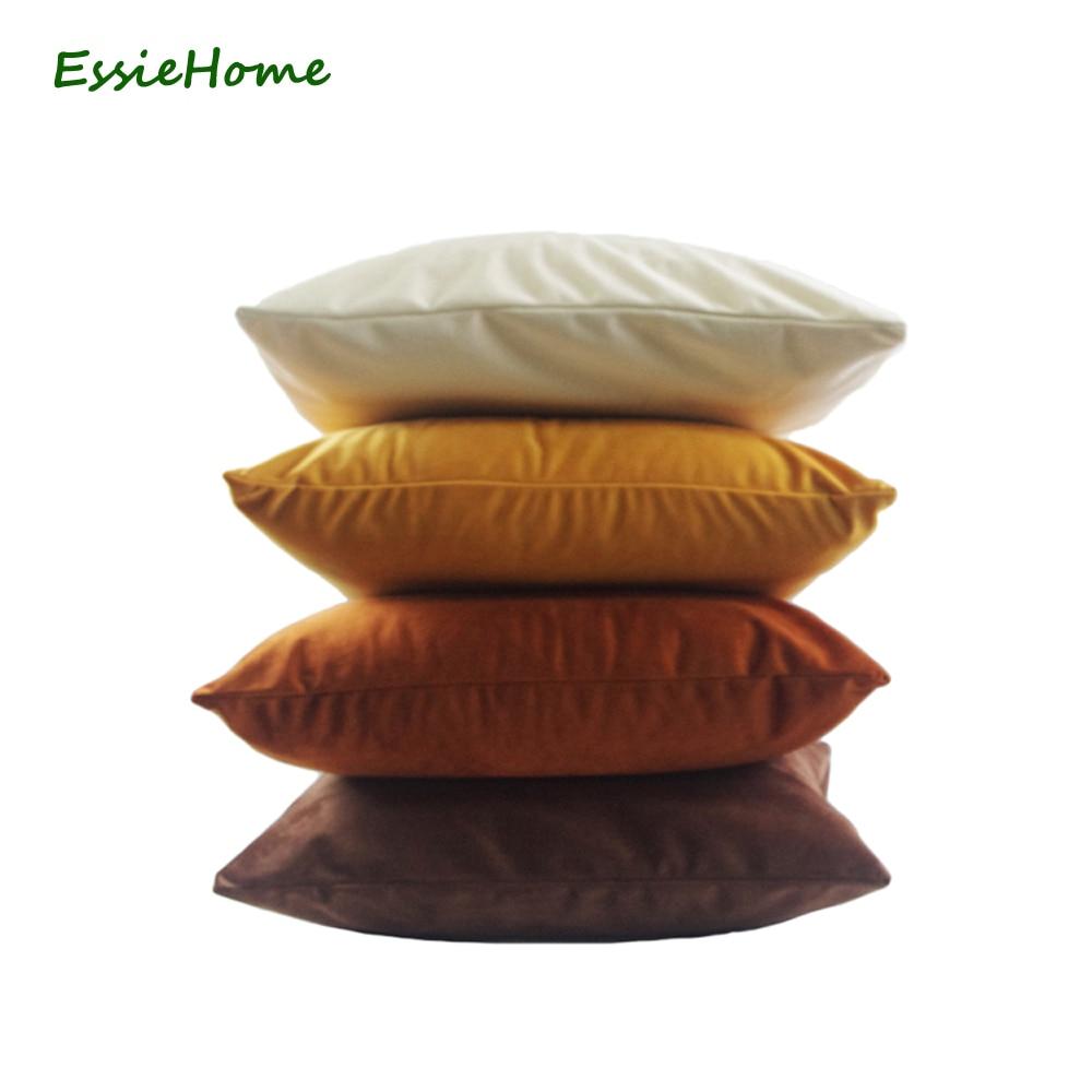 ESSIE HOME High End Velvet Cushion Cover Pillow Case Caramel Cream Color Collection Cotton Matte Velvet Red Lumber Pillow Case in Cushion Cover from Home Garden