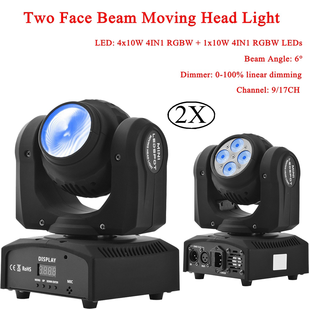 2Pcs/Lot NEW Mini Laser Stage Lighting Two Face Beam Moving Head Light DMX512 For Party Bar DJ Disco Stage Lighting KTV Lamp