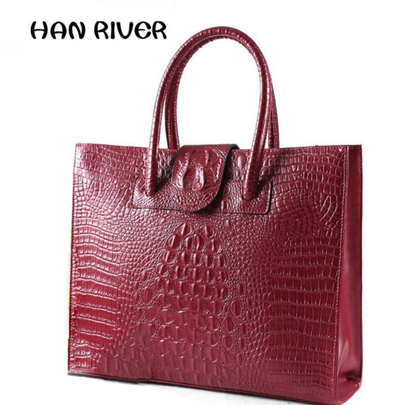 For Crocodile womens genuine leather handbag ol womens commercial womens briefcase handbag large capacity brief shoulder bag