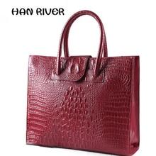 For Crocodile women's genuine leather handbag ol women's commercial women's briefcase handbag large capacity brief shoulder bag