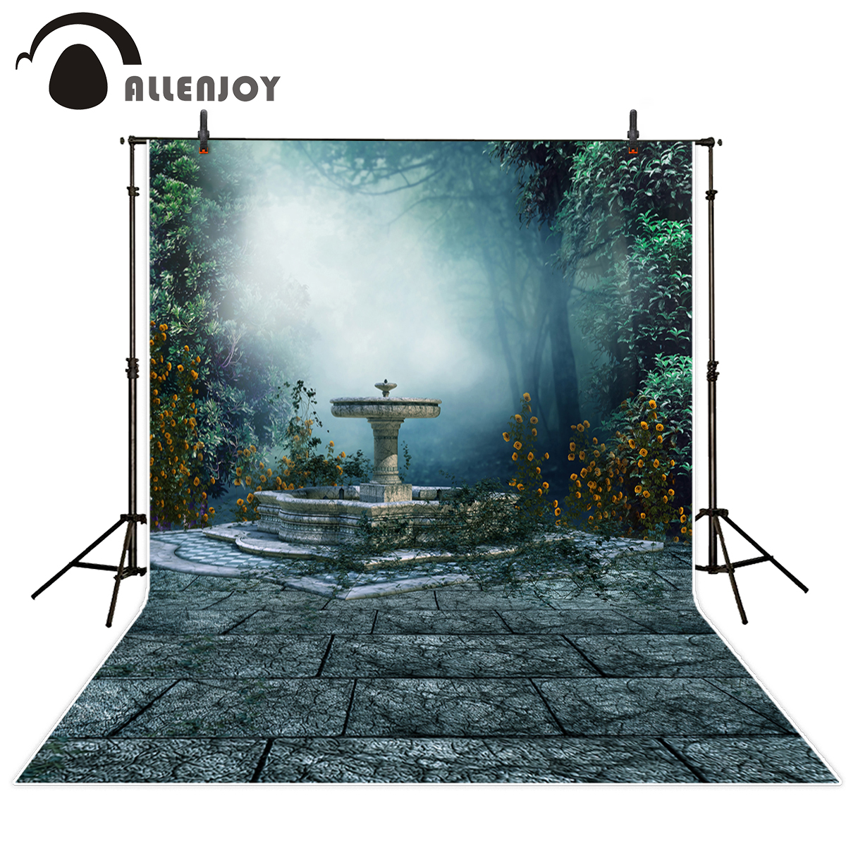 Allenjoy Photographic background flower forest Fountain patio Natural Scenery default material thin vinyl photography backdrops