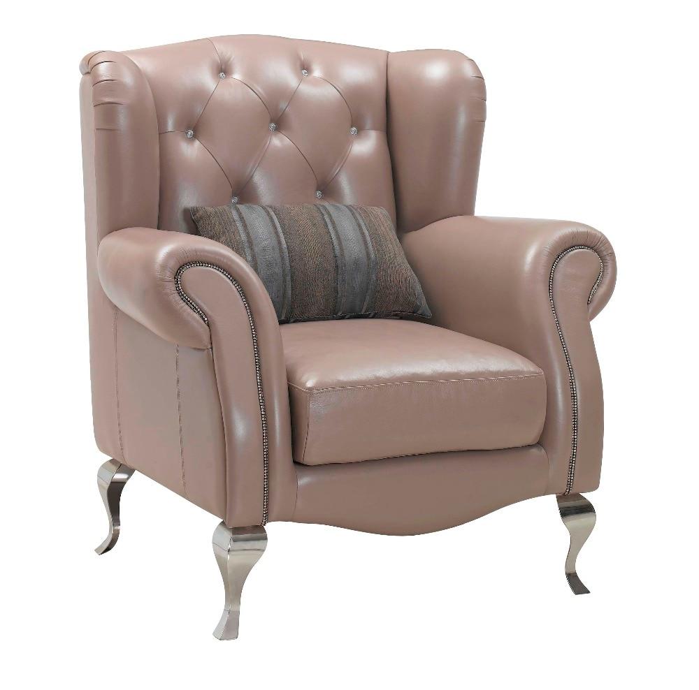 Cadeira De Couro De Madeira Real E Braço De Cadeira Para Sala De Mobiliário  De Aço