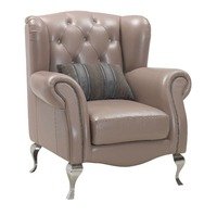 wooden frame real leather chair and arm chair for living room furniture with stainless steel legs and diamond