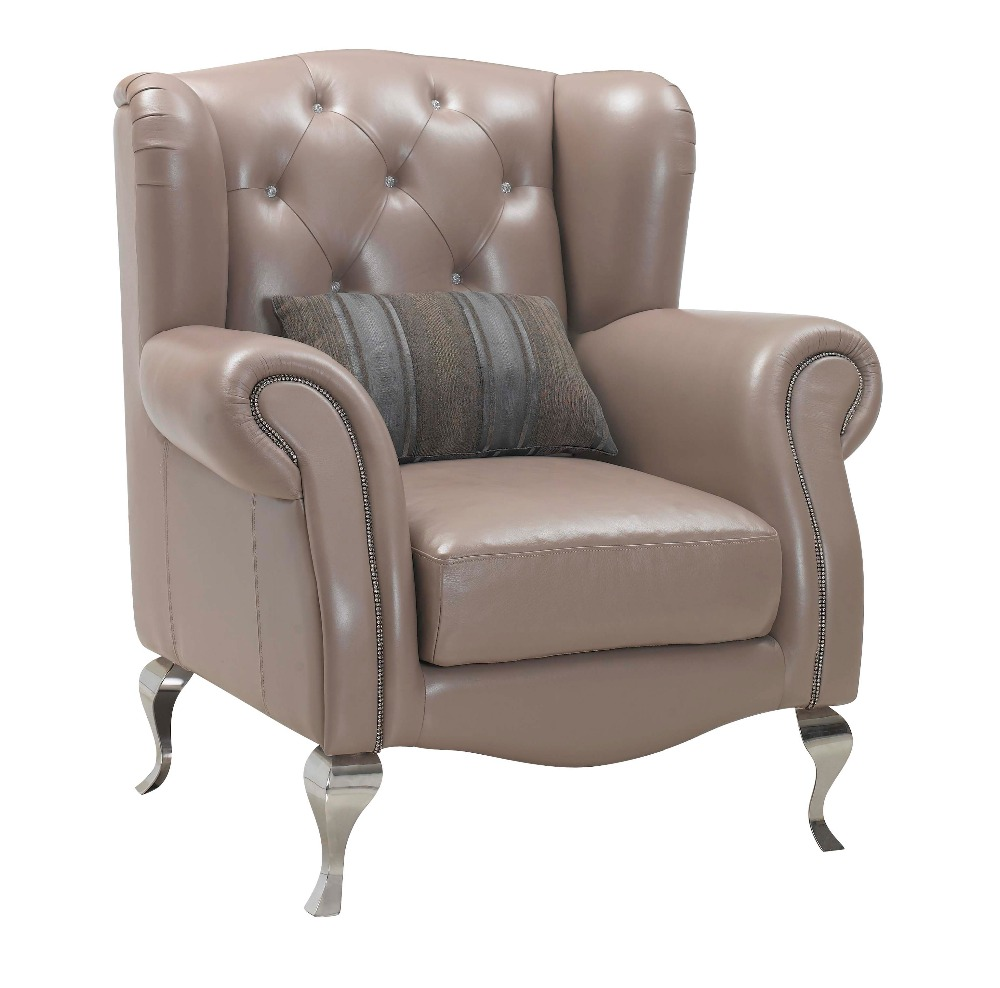 Wooden Frame Real Leather Chair And Arm Chair For Living