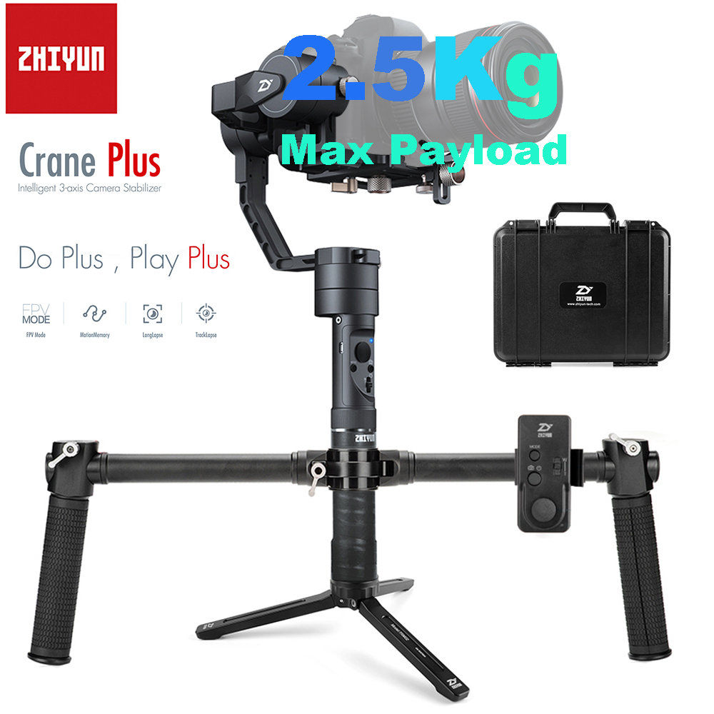 Zhiyun Crane Plus 3-Axis Handheld Gimbal Stabilizer Remote Dual Handheld Grip for Mirrorless DSLR Camera Support 2.5KG POV Mode zhiyun crane m 3 axle handheld stabilizer gimbal remote controller case for dslr camera support 650g smartphone camera f19238 a