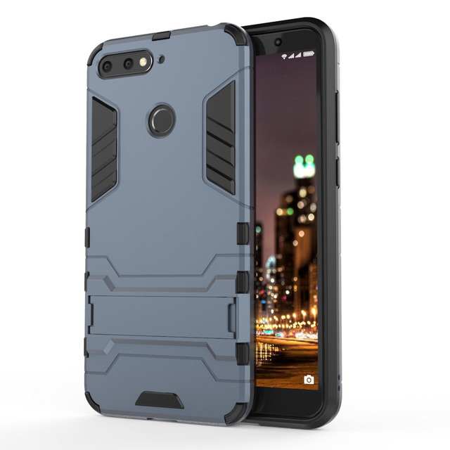 brand new dbe0f 8556f US $3.31 7% OFF Hybrid Armor Cases For Huawei Y6 Prime 2018 Case with stand  ShockProof Full Protector Hard Phone Cover For Huawei Y6 2018-in Fitted ...