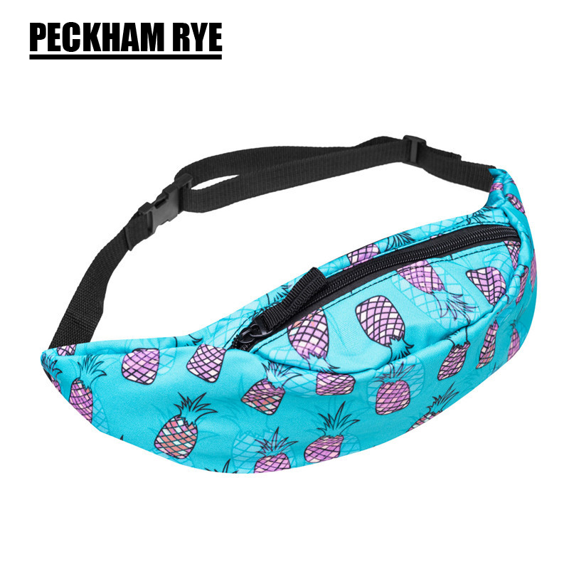 Hot sales full bandana black 3d printing fashion waist bag women fanny packs belt bum bag waist packs for men