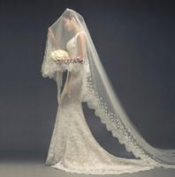 2016 new Lace bridal veil white / ivory 3m long Bridal veil mantilla veil From wedding accessories Bride with lace pearl flowers