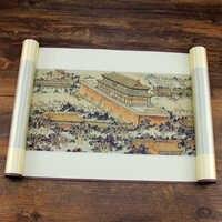 Tangfoo Seide Blättern Malerei Chinesische Brokat Wand Bild Imperial Palace Panorama Farbige Traditionellen Chinesischen Druck Büro