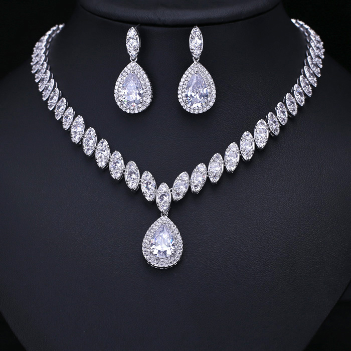 Hot Clear Cubic Zircon Wedding Jewelry Sets Bridal