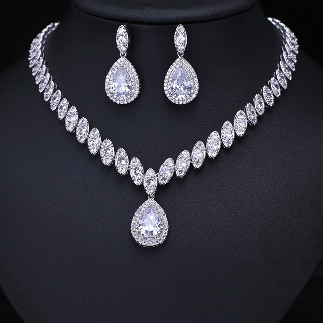 Hot Clear Cubic Zircon Wedding Jewelry Sets Bridal Earrings Necklace Set Promotion Nickel
