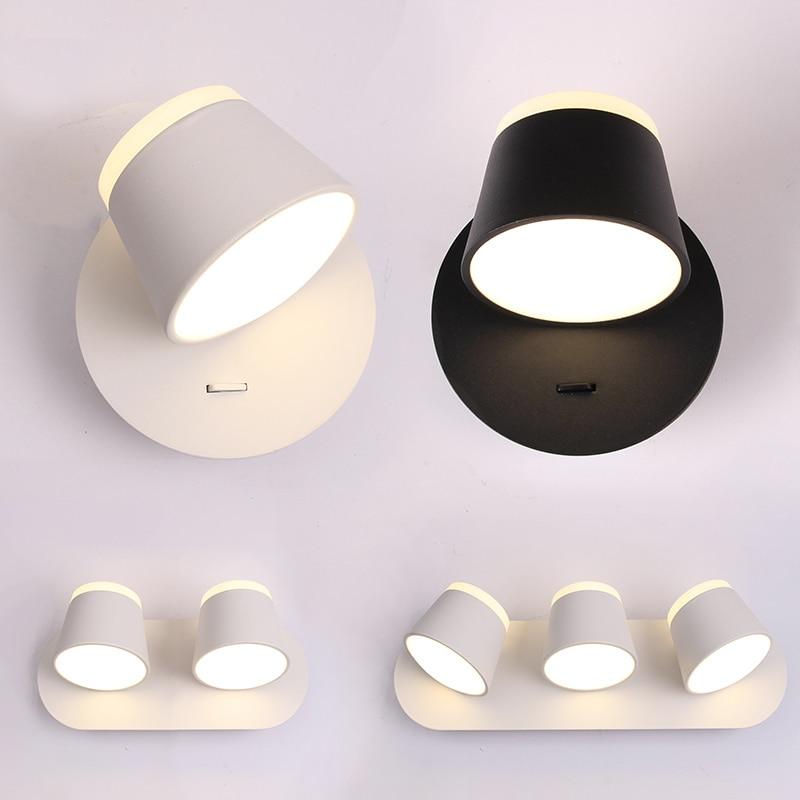 Moderne nordique 1/2/3 lumière rotative applique murale lumière noir/blanc abat-jour chevet mur lecture lampe murale veilleuse Art Decor