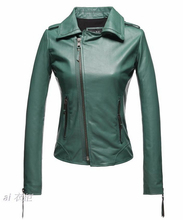 Long sleeve green spring coats 1 genuine leather jacket for the womens new design fashion woman short leather coat 2XL