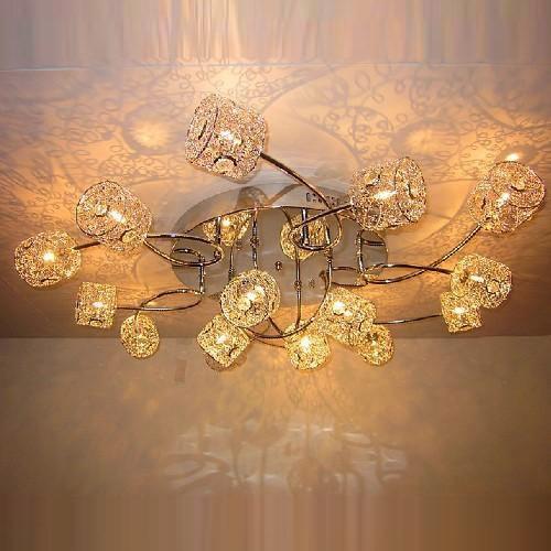 Moderní Hliníkový drát křišťálový Columna Stropní Obývací pokoj Lamp Ložnice Studovna Pokoj Hliníkový drát Ložnice Stropní světlo