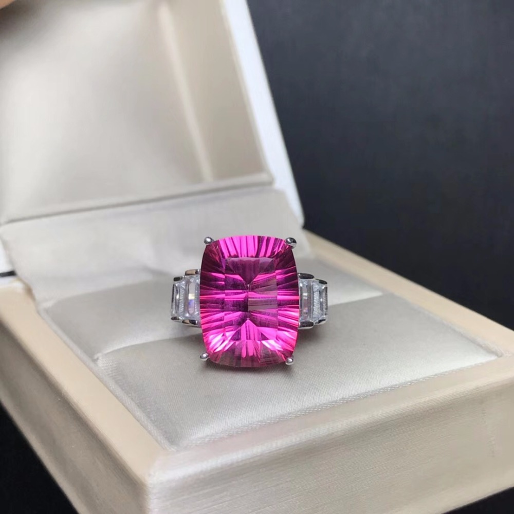 Natural Pink Topaz Rings for Women, 925 Sterling Silver Fine Jewelry, 10*14mm Gemstone with Velvet Box Certificate FJ254Natural Pink Topaz Rings for Women, 925 Sterling Silver Fine Jewelry, 10*14mm Gemstone with Velvet Box Certificate FJ254