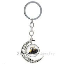 Cool Tractor machineshop truck car keychain farming machine Construction Machinery moon pendant key chain ring keyring T834 T835(China)
