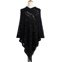 2019 Spring Asymmetric Style Crochet Poncho Fashion Hollow Out Cloak Sweater Women Pullover with Tassel Cape Femme