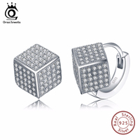 ORSA JEWELS Sterling Silver 925 Solid Earrings For Women Fashion Jewerly Stud Earring With Square Shape