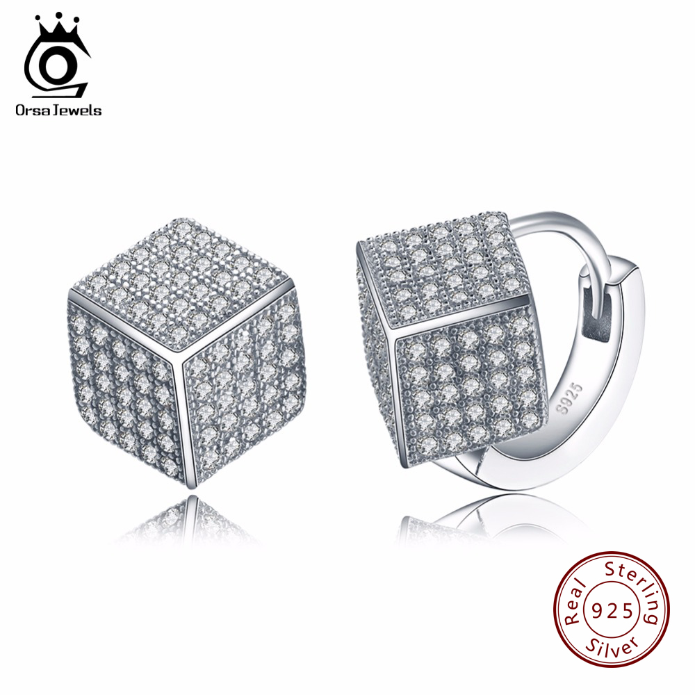 ORSA JEWELS Sterling Silver 925 Solid Earrings for Women Fashion Jewelry Stud Earring with Square Shape Shiny Austrian CZ SE22
