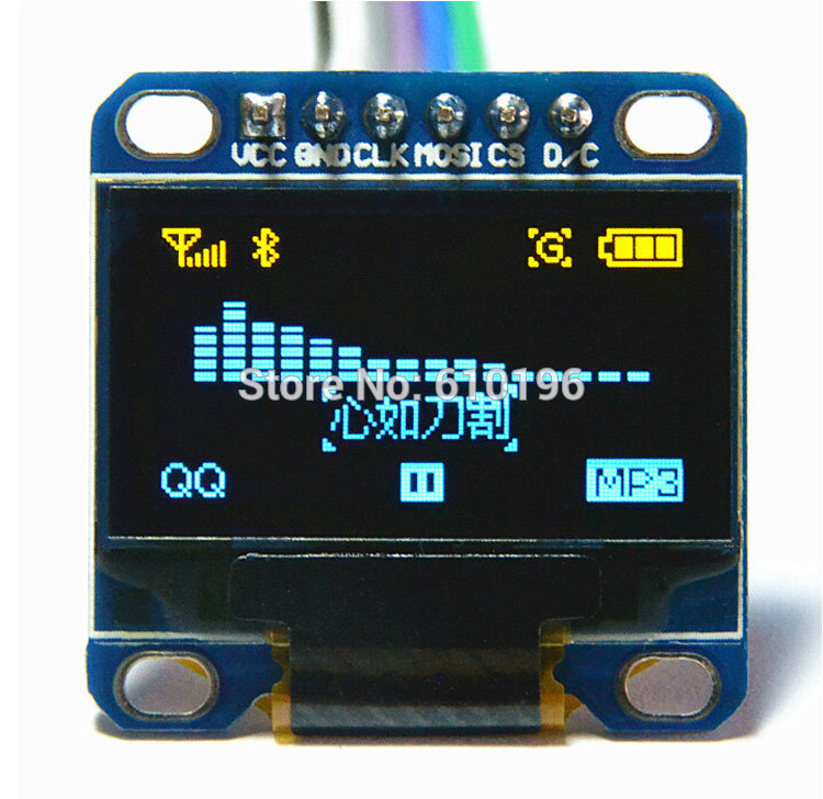 SPI 0.96 Inch Yellow and Blue Serial 128*64 OLED LCD LED Display Module for Arduino 51 MSP420 STIM32 SCR