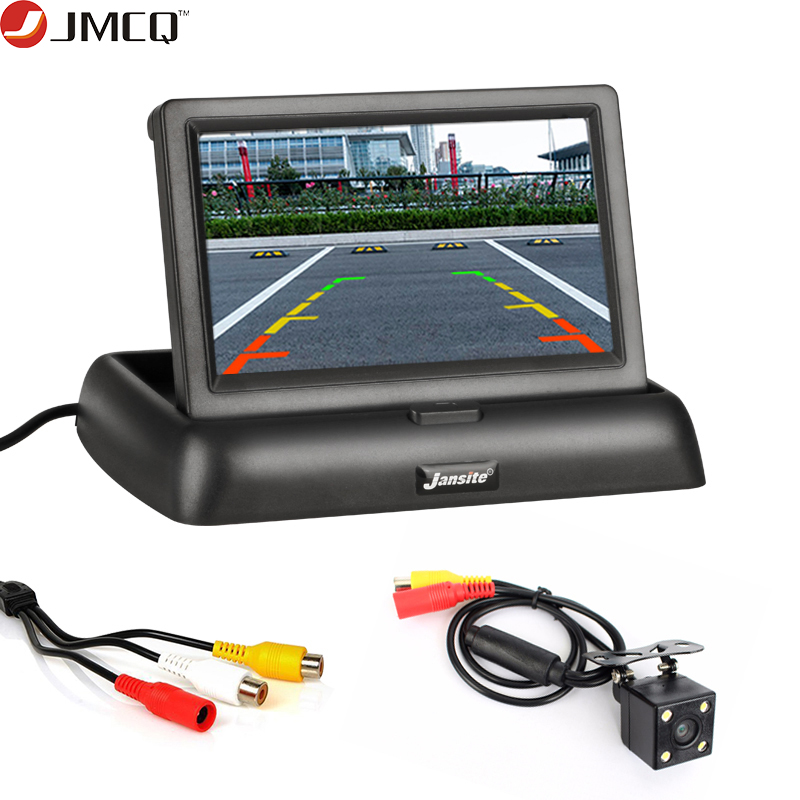 JMCQ 4.3inch Car Monitors TFT LCD Car Rear View Monitor Display Parking Rearview System + Backup Reverse Camera Support DVD