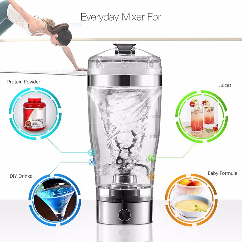 450ML Portable Vortex Electric Blender Protein Shaker Smart Mixer Cup Automatic Movement Intelligent DIY Drinking top sale 600ml new electric protein shaker blender water bottle automatic vortex tornado free detachable smart mixer