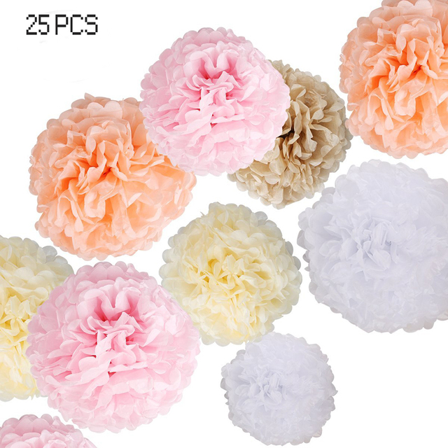 Aliexpress Com Buy 6inch Or 15cm Tissue Paper Pom Poms Paper Flowers Wedding Party Decoration Supplies 50pcs Lot 25 Colors Wholesale From Reliable