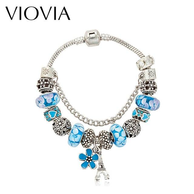 Viovia Brand Jewellery Eiffel Tower Charm Bracelets Bangles For Women Crystal Beads Bracelet Pulseira Feminina