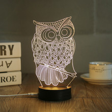 2017 New Design USB Owl Table Lamp Luminaria LED Night Light Switch  Decorative Bedroom Lighting Atmosphere Lamps