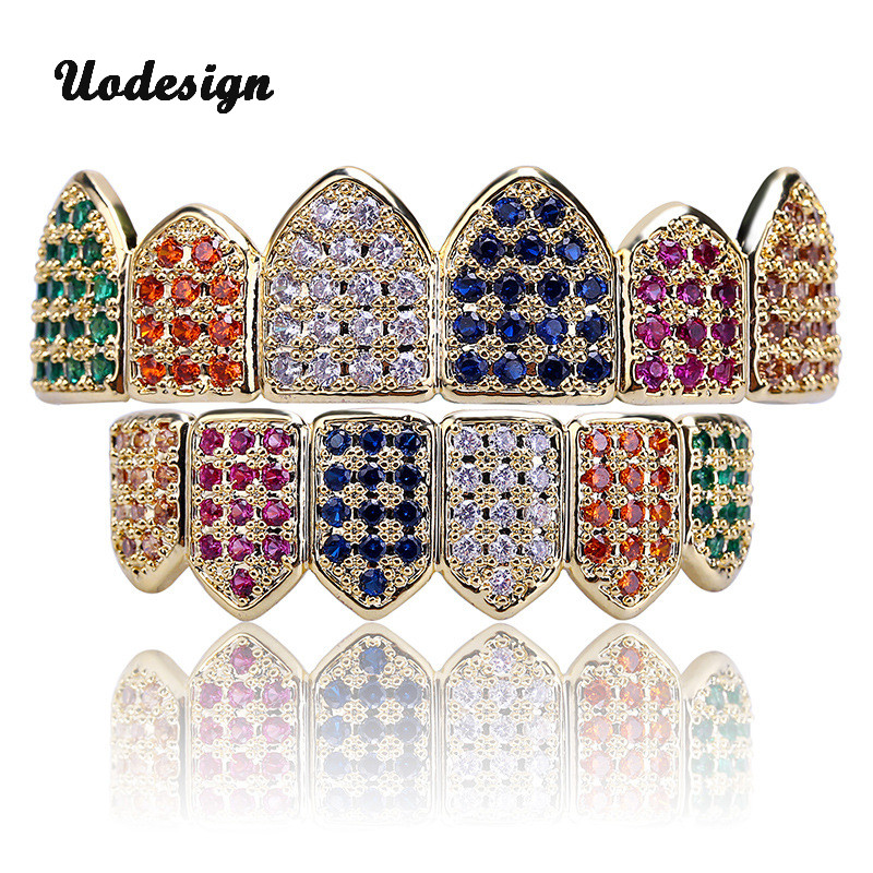 Hip Hop Teeth Grillz Gold Silver Color Plated Micro Pave Rainbow CZ Stones Top & Bottom Mouth Teeth Grills Sets цены