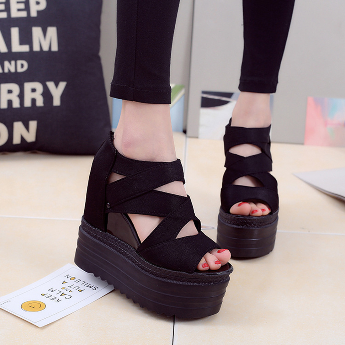 9fc1e56d320 2017 Korean Women Platform Shoes Gladiator Fish Head Woman Sandals Summer  Hollow Out Weave Wedge Ladies High heeled Sandal-in Women s Sandals from  Shoes on ...