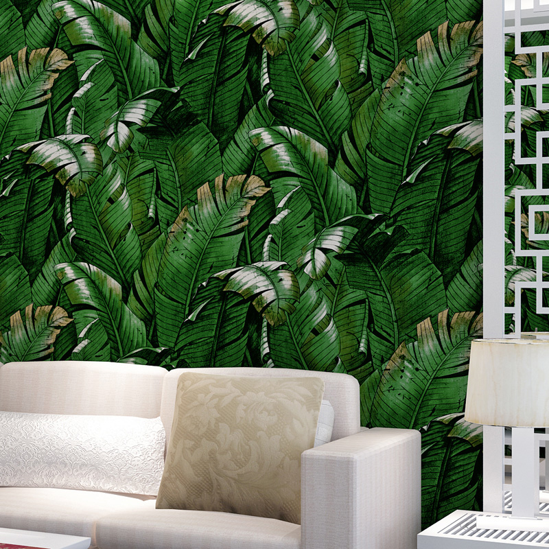 2016 southeast asian style green banana leaf wallpaper for East asian decor