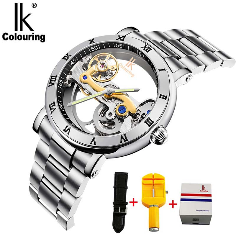 IK Men Automatic Mechanical Watches Topmærke Luksus Rustfrit Stål Watch Skeleton Gennemsigtig Sport mandlig WristWatch