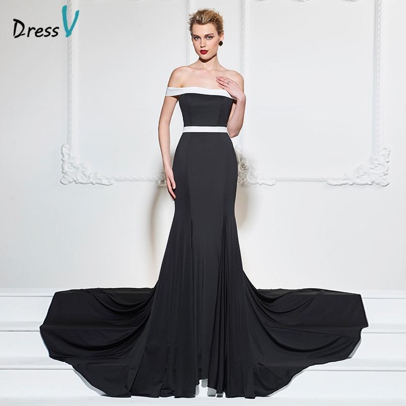 5f56ccc07af8 Dressv nero lungo abito da sera sexy al largo della spalla della sirena sweep  treno di lusso abito formale partito tromba abiti da sera in Dressv nero  lungo ...