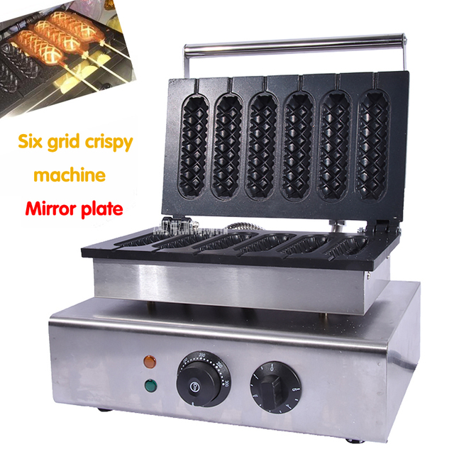 Electric 6 Pieces Crispy Corn Hot Dog Waffle Maker 1.55 KW Non-Stick French Muffin Sausage Machine EU US plug 110V 220V FY-119-2