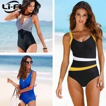 LI-FI, сдельный купальник, женский классический винтажный купальник, стройнящий купальный костюм с пуш-ап, летний купальный костюм, пляжная одежда XXL