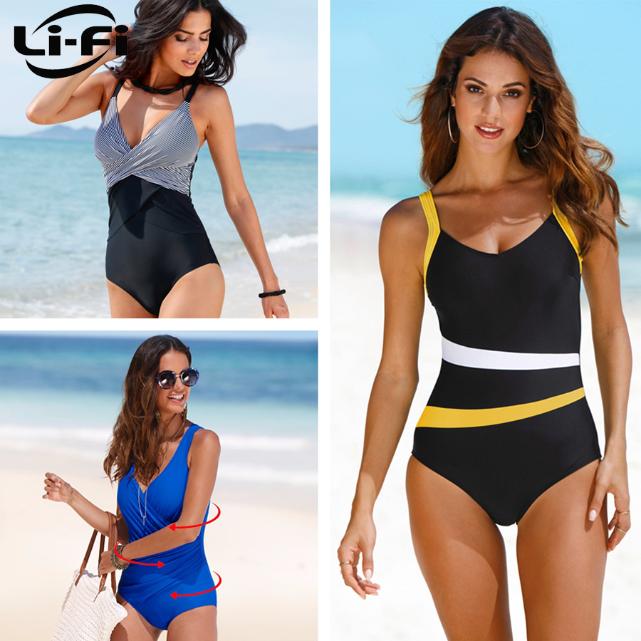 LI FI 2019 One Piece Swimsuit Women Classic Vintage Swimwear Sliming Push Up Bathing Suit Summer Swimming Suit Beachwear XXL in Body Suits from Sports Entertainment