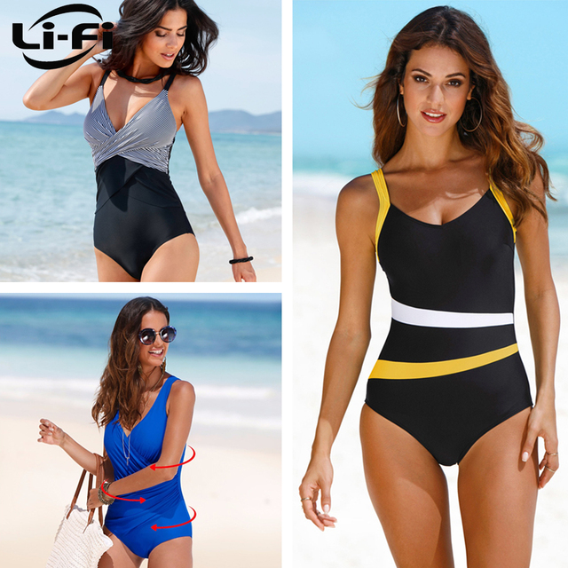 c0a1f8fb1b2 US $10.99 49% OFF|LI FI 2019 One Piece Swimsuit Women Classic Vintage  Swimwear Sliming Push Up Bathing Suit Summer Swimming Suit Beachwear XXL-in  Body ...