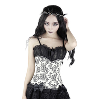 Gothic Women's Corset Black White Skinny Stage Clothing Victorian Vetro Bangdage Skinny Vest Halloween Party Costume
