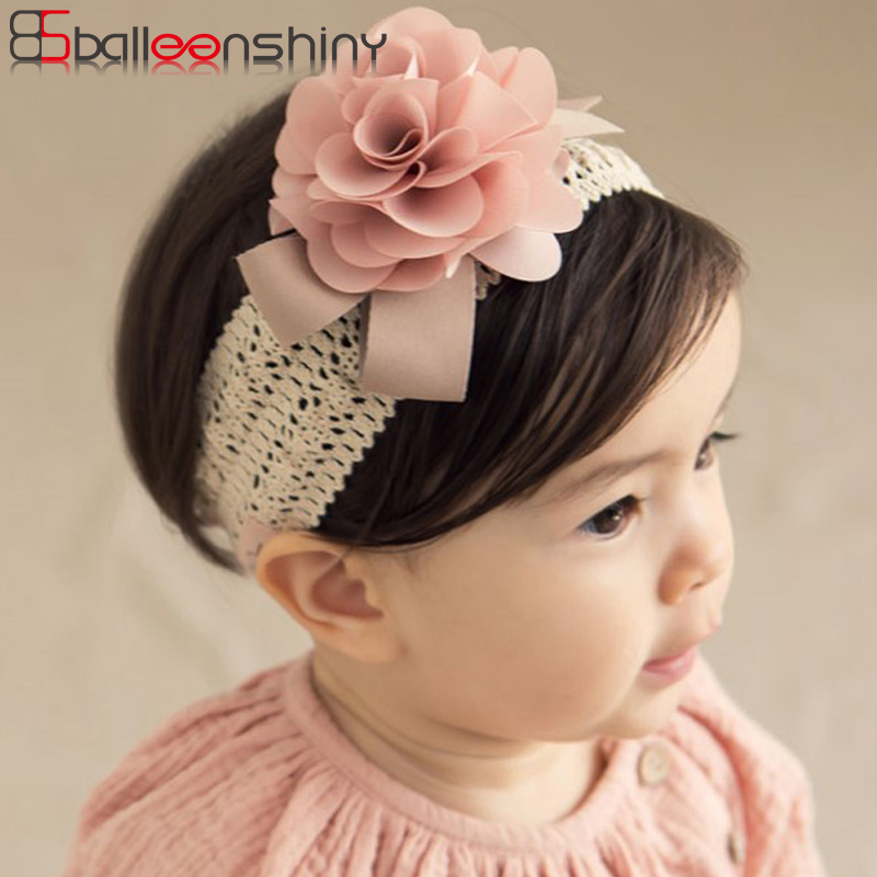 BalleenShiny Baby Girls Lace Flower Headband Princess Elastic Floral Turban Fashion Lovely Soft Hair Accessories Kids Photo Prop