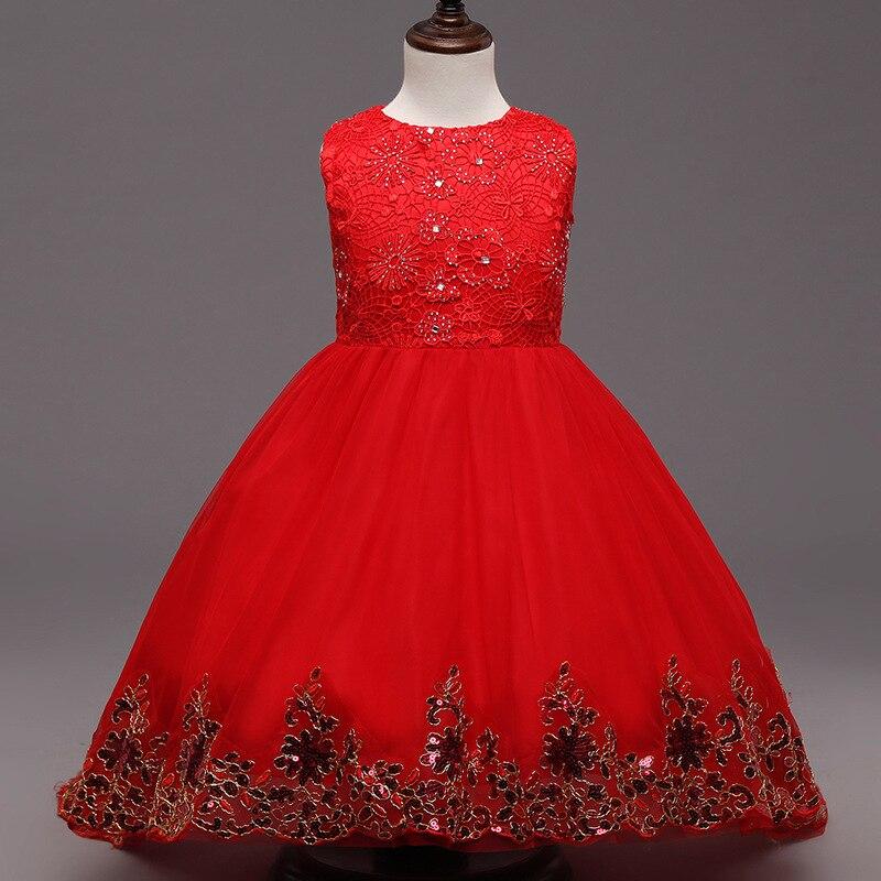 ФОТО girls party summer evening dresses kids wedding vest embroidered sequin costume bow elegant  infant princess  christmas vestido